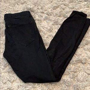 Black topshop Leigh jeans with knee rips